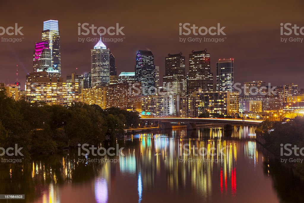Nighttime Cityscape Of Philadelphia With Lights Reflecting