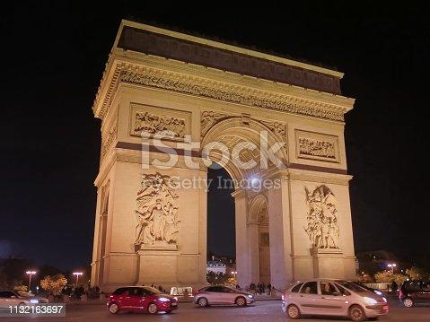 istock nighttime close up view of the arc de triomphe de l'etoile, paris 1132163697