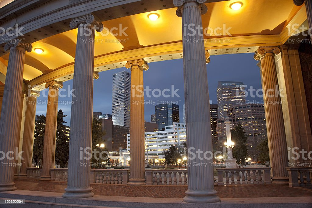 Nighttime Downtown Denver Skyline Civic Center Park Colorado stock photo