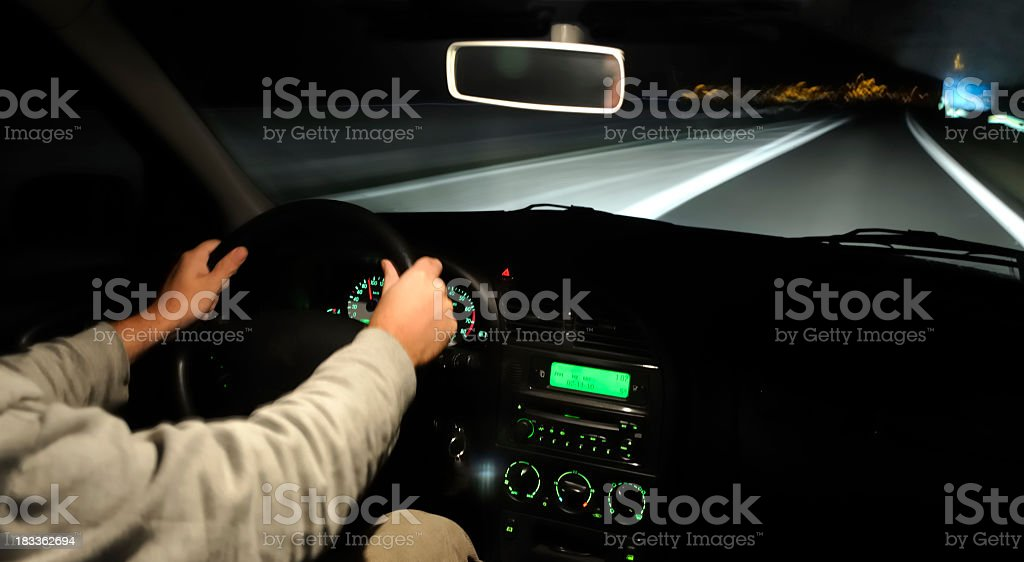 Nighttime driving royalty-free stock photo