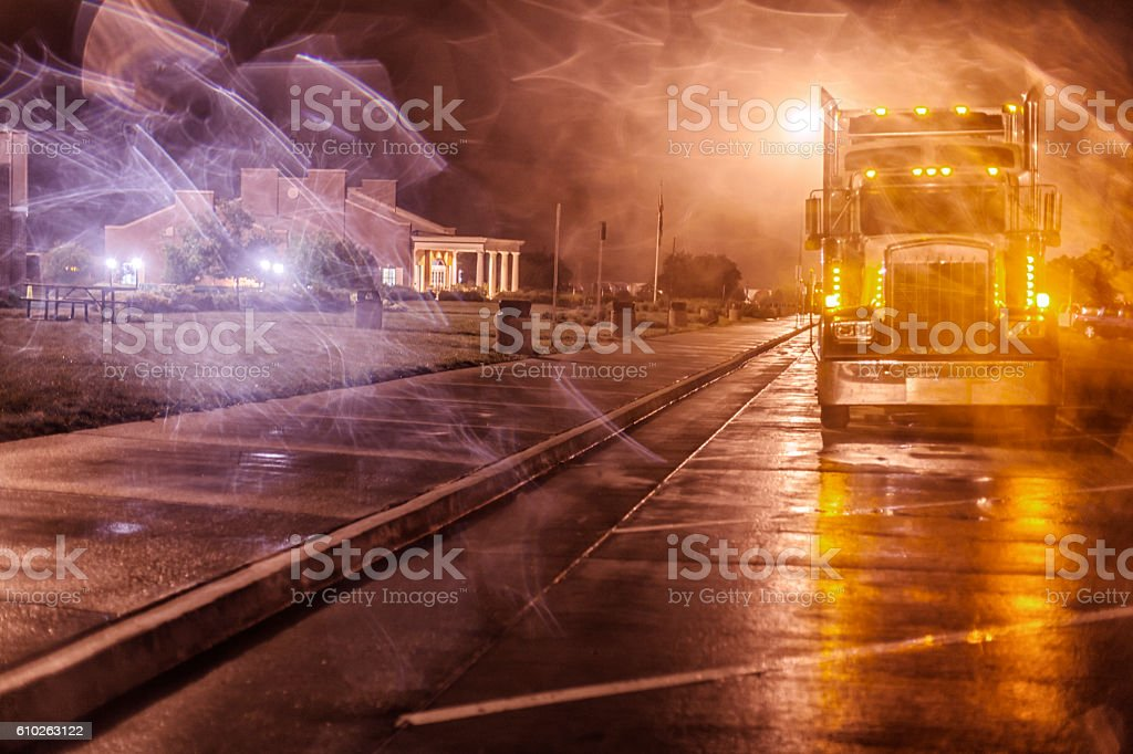Nighttime Expressway Rest Stop Ghostly Semi Trailer Truck stock photo