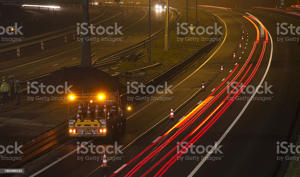 Nighttime Highway Maintenance royalty-free stock photo