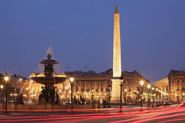 Nighttime image of the Place de la Concorde stock photo