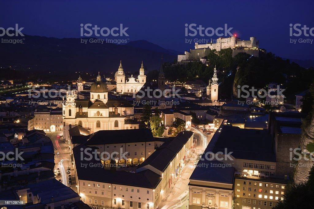 Nighttime in Salzburg, Austria stock photo