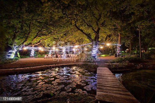 Wide-angle view of a Nighttime outdoor wedding reception in an oak tree forest with string lights shining on the tree trunks and fairy lights hanging in-between.  The image is a long exposure with movement of people and star effect lights.  There is a bridge leading over a stretch of water filled with water lilies.