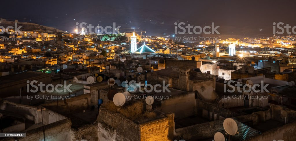 Nighttime over the medina in Fes, Morocco stock photo