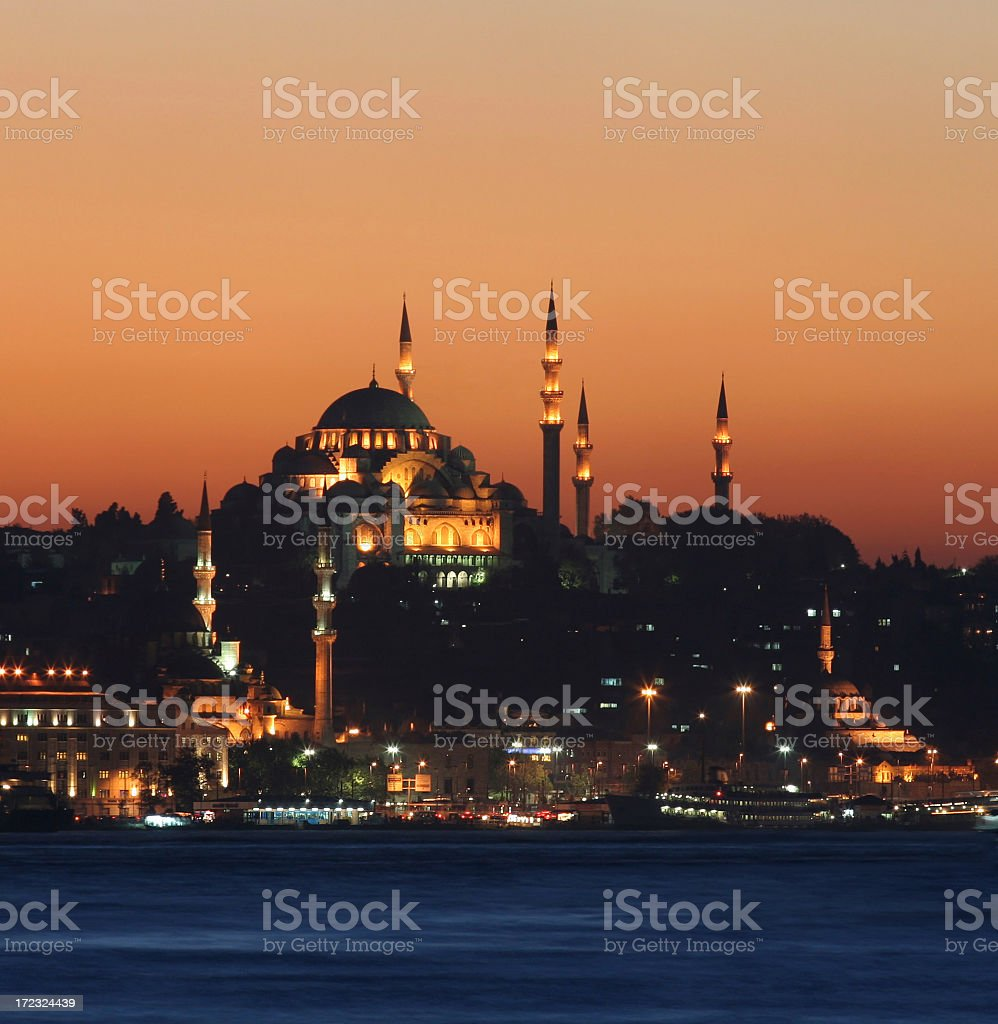 A nighttime photo of Istanbul's skyline and landmarks royalty-free stock photo