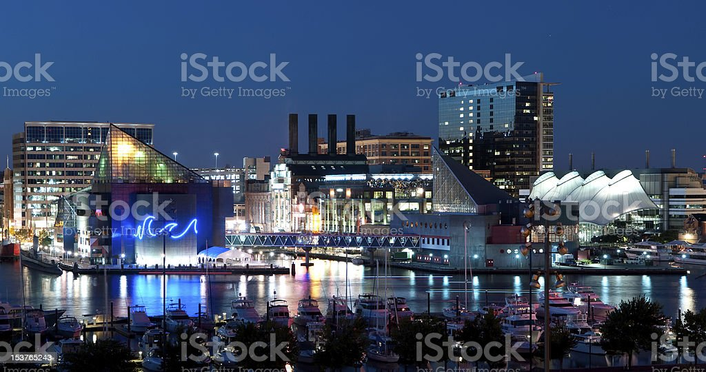 A nighttime picture of Baltimore, Maryland stock photo