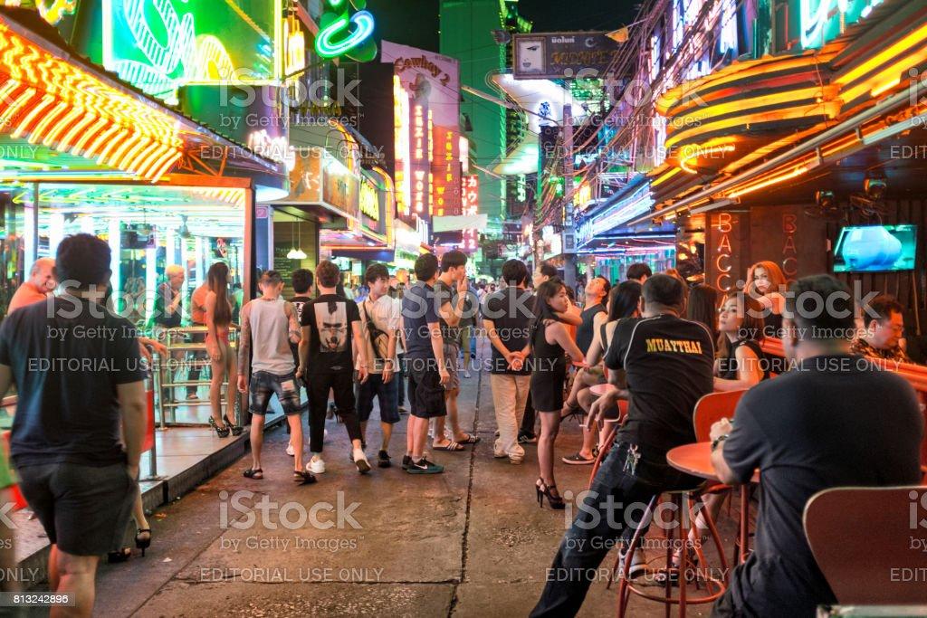 Nighttime Scene In Soi Cowboy, Bangkok, Thailand stock photo