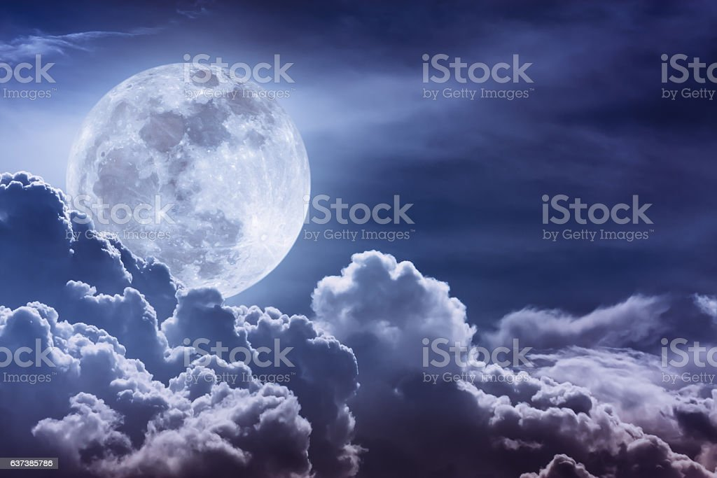 Nighttime sky with clouds and bright full moon with shiny. - foto de acervo