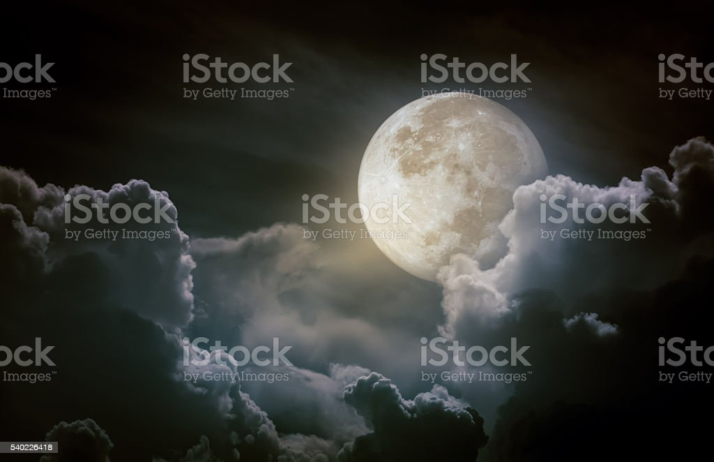 Nighttime sky with clouds. Beauty of nature and copy space. stock photo