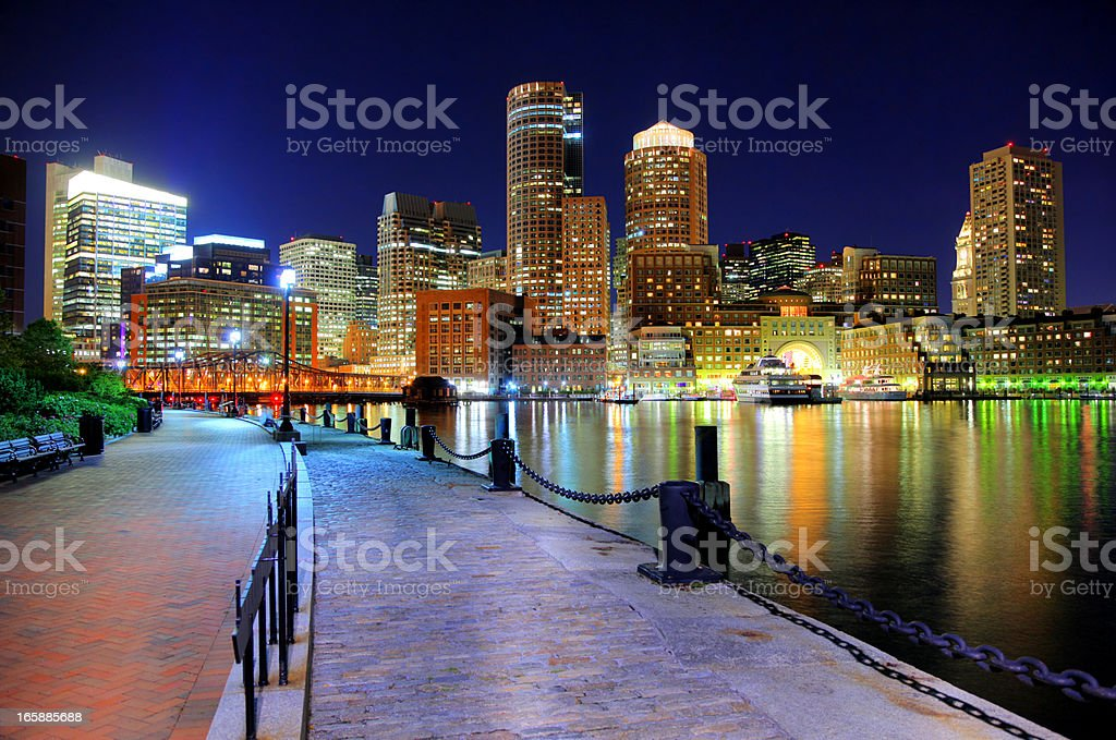 Nighttime view of Boston from the Riverwalk stock photo