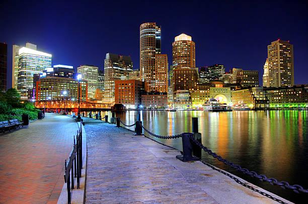 Nighttime view of Boston from the Riverwalk stock photo