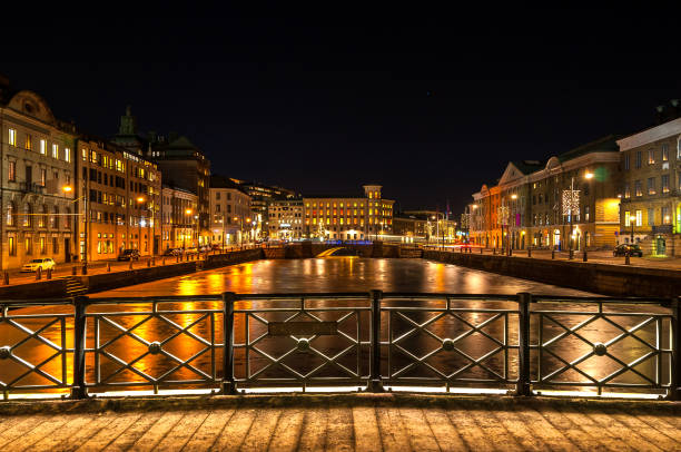 Nighttime view of lit up Gothenburg in Sweden stock photo