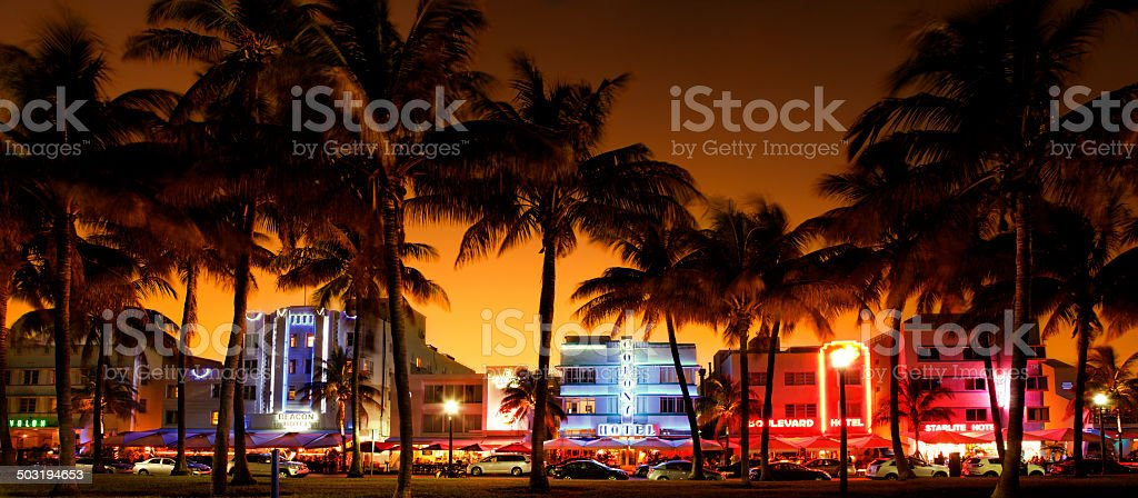 nighttime view of Ocean Drive, South Beach, Miami Beach, Florida stock photo