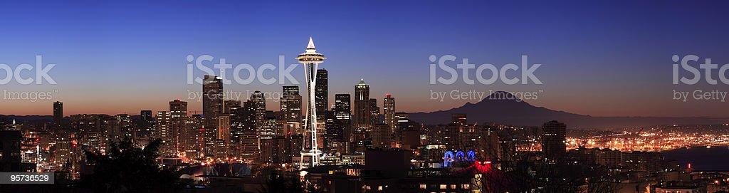 Nighttime view of Seattle, Washington royalty-free stock photo