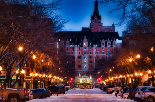 Nighttime Winter Street in Saskatoon stock photo