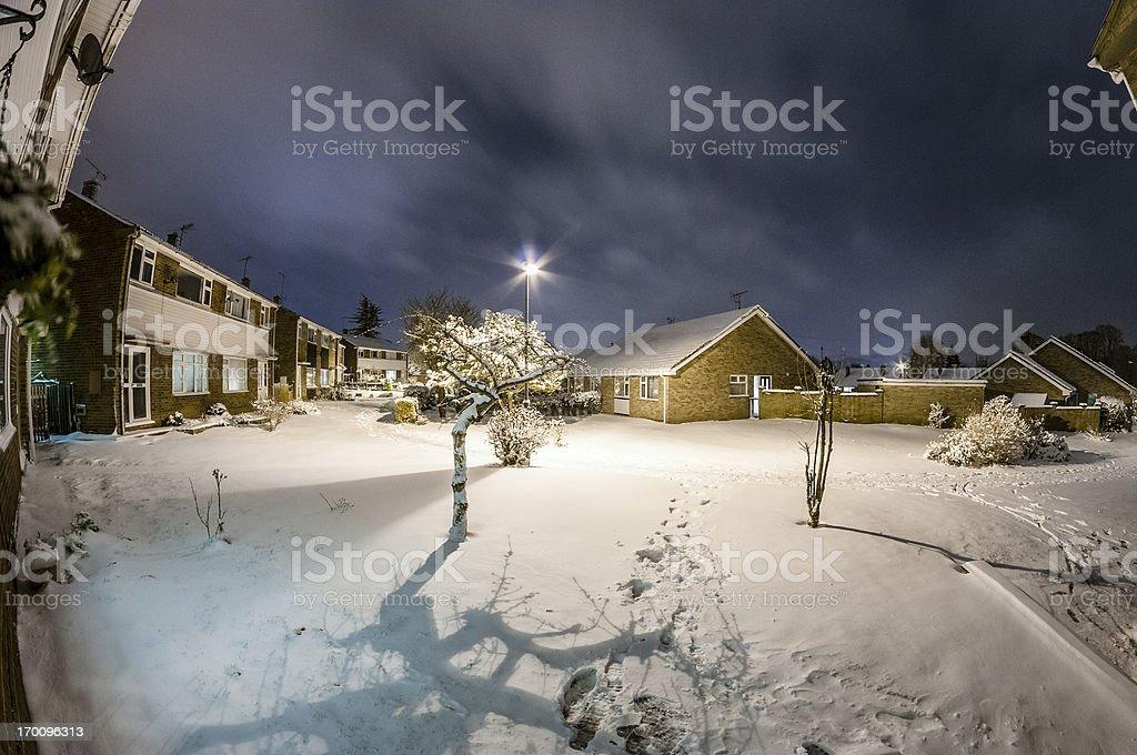 Nighttime Winter Suburban Scene royalty-free stock photo