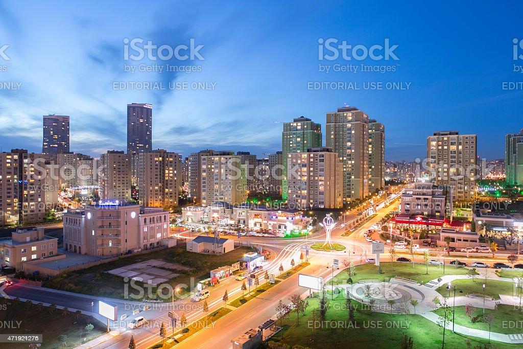 nightview at anatolian side of istanbul turkey stock photo
