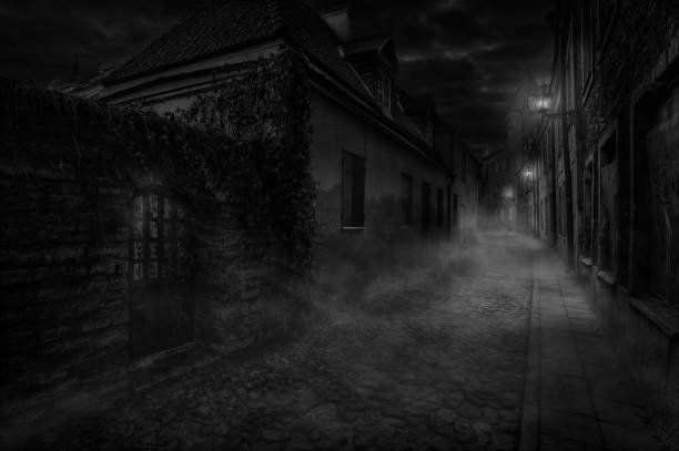 Nighty foggy lane Illuminated by wall lamps, a foggy alley is sleeping alley stock pictures, royalty-free photos & images
