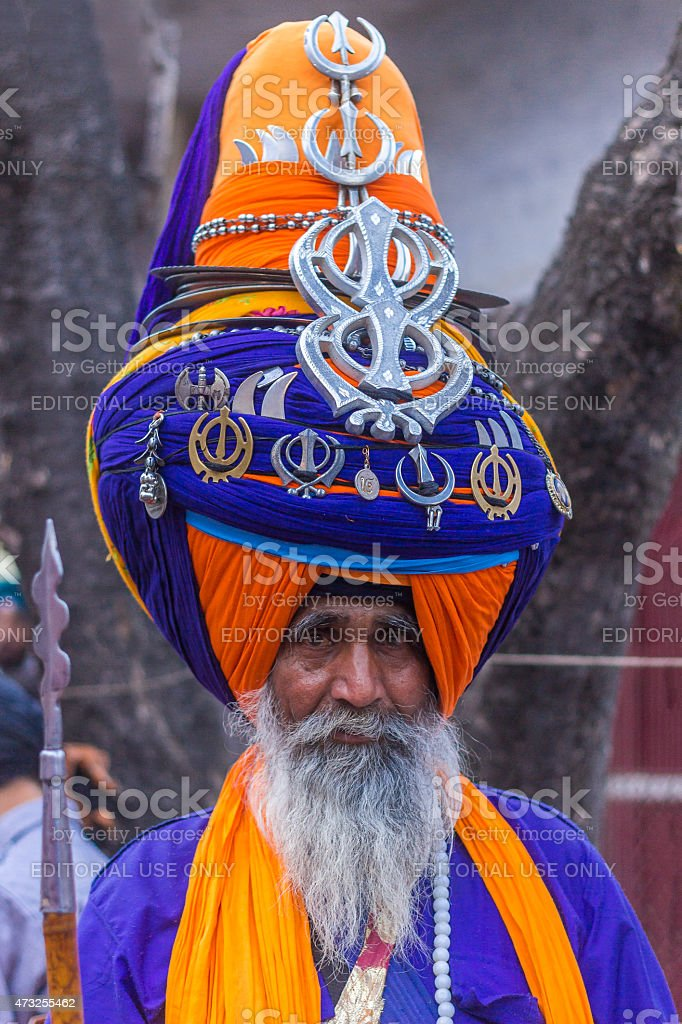 Nihang Sikh wearing big turban at hola mohalla festival, Punjab stock photo