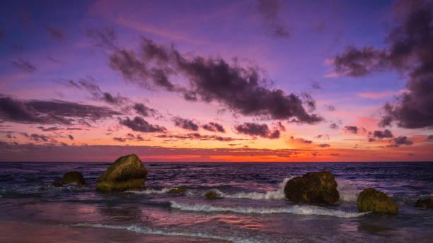 Nihisumba Beach Dramatic Sunset Panorama Sumba Island Indonesia