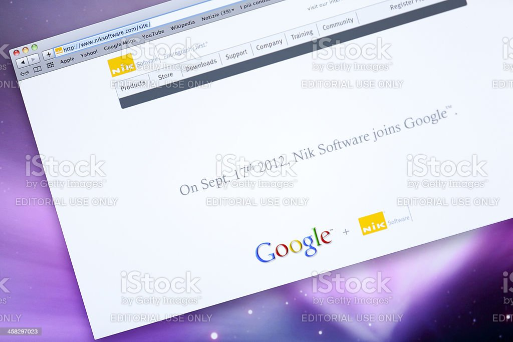 Nik software internet home page royalty-free stock photo