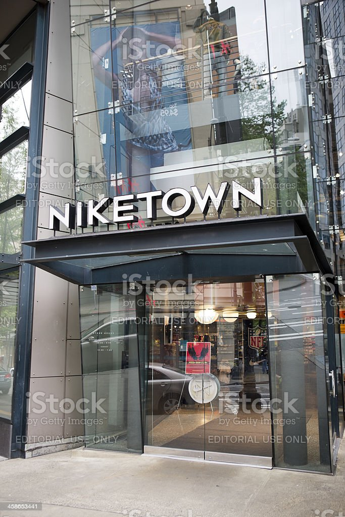 Nike and Niketown in Downtown Seattle Retail Shopping District stock photo