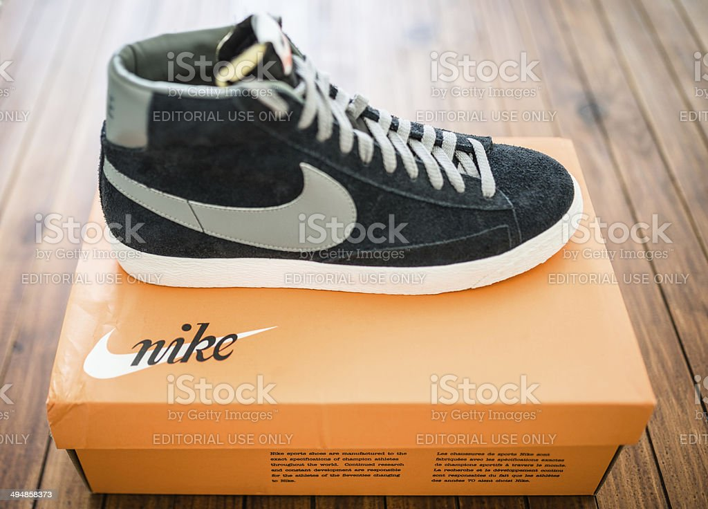 67807313 Nike blazer mid vintage close up on their box package royalty-free stock  photo
