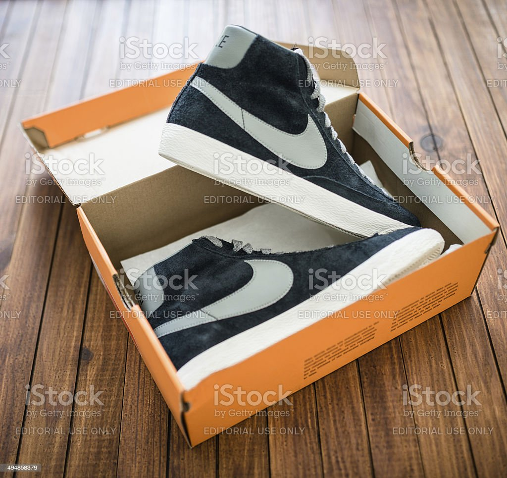 76ccb13e Nike blazer mid vintage close up on their box package - Stock image .