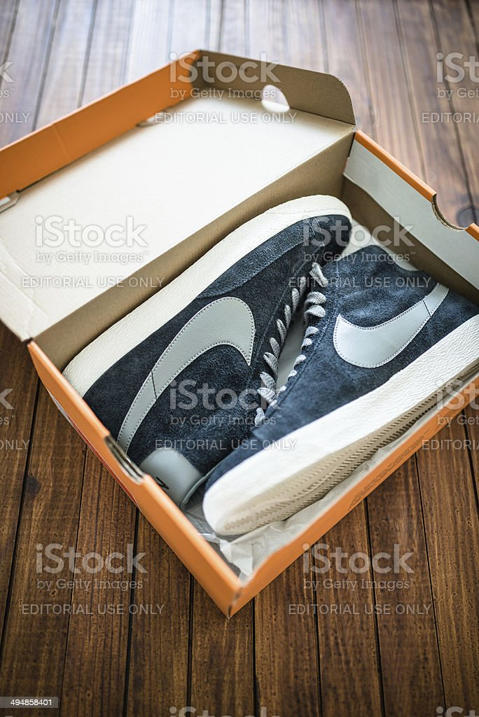8a7a604f Nike blazer mid vintage close up on their box package royalty-free stock  photo