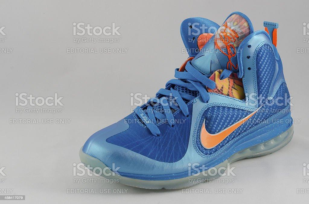 Nike Lebron 9 Neptune and Total Orange royalty-free stock photo