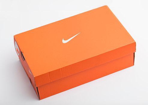 Las Vegas, USA - February 13, 2016: A new Nike Shoe Box isolated on a white background.