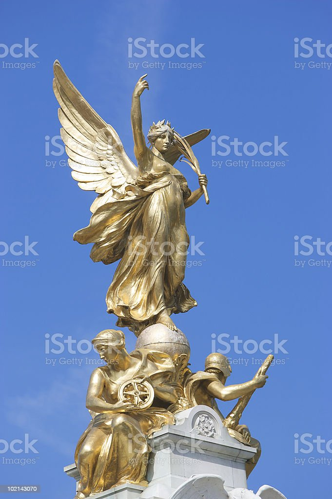 Nike (Goddess of Victory) Statue outside Buckingham Palace stock photo