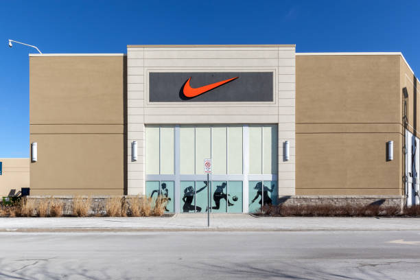 Nike store sign at Vaughan Mills mall near Toronto. stock photo