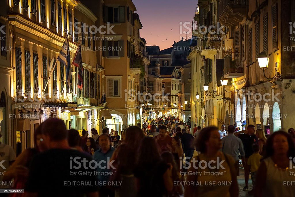 Nikiforou Theotoki Street crowded with tourists, Corfu, Greece stock photo