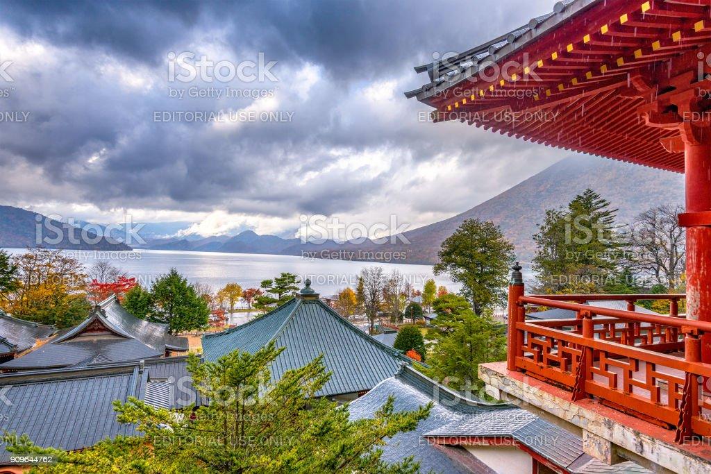 Nikko, Japan viewed in the autumn from Chuzen-ji Temple complex. stock photo