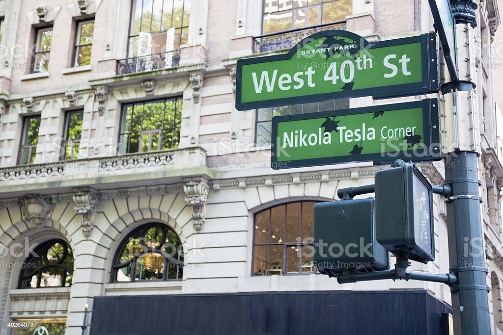 Nikola Tesla Corner in New York royalty-free stock photo