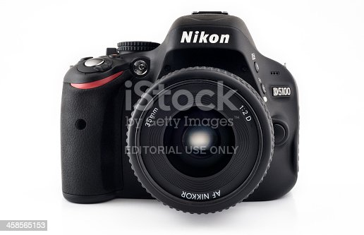 Chiang Mai, Thailand - May 3, 2011: Nikon D5100 DSLR camera with a 35mm auto focus lens. This camera model was released in April 2011 and is made in Thailand.