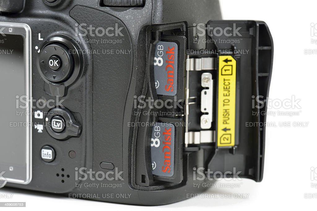Nikon D600 DSLR Camera Dual Memory Slots stock photo