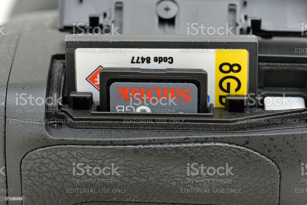Nikon D800 Camera Memory Card Slots stock photo