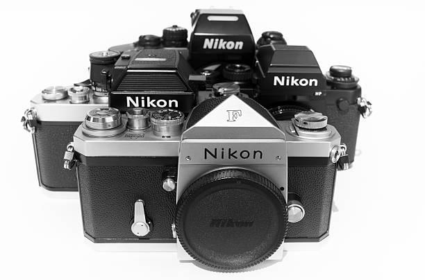 Nikon F, Nikon F2AS Photomic, Nikon F3HP and Nikon F4 stock photo