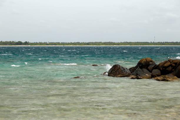 Nilaveli beach from Pigeon Island stock photo