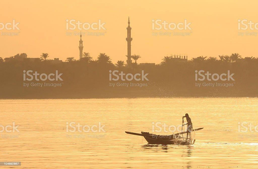 Nile fishermen in Luxor, Egypt stock photo