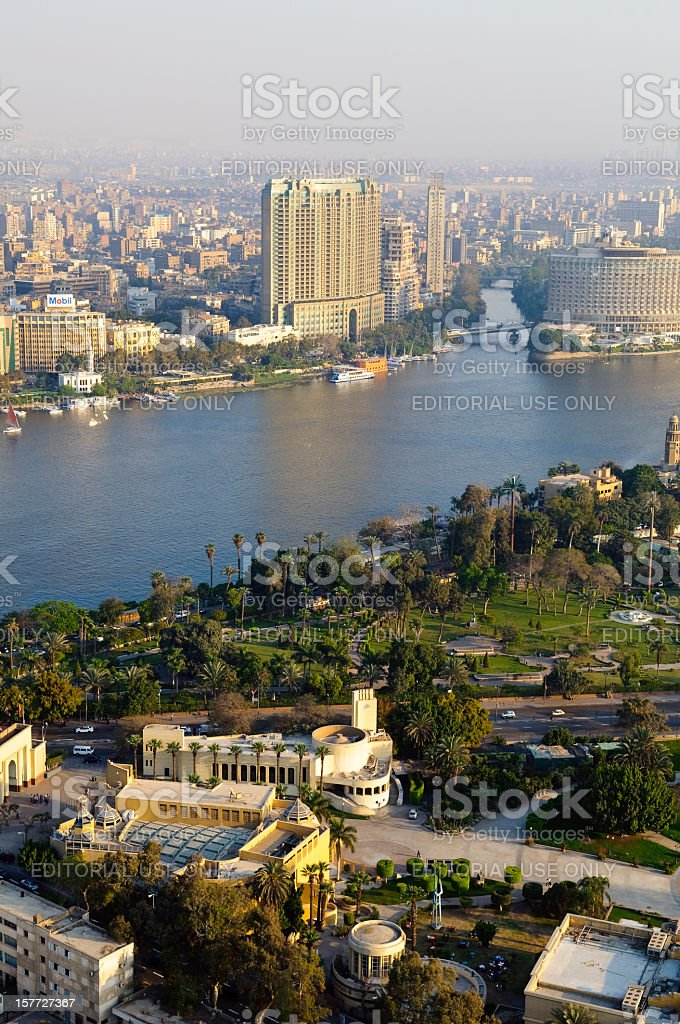 Cairo and Nile River stock photo
