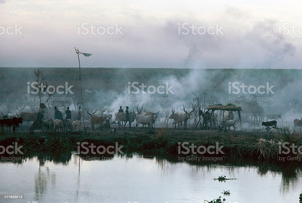 Nile Village in Southern Sudan royalty-free stock photo