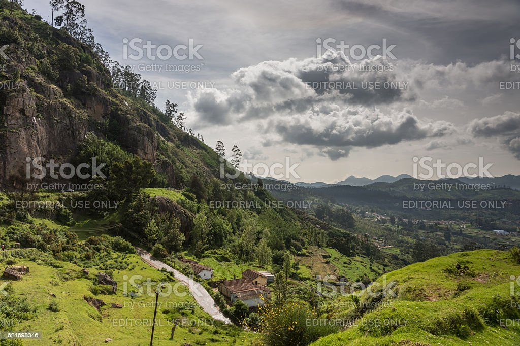 Nilgiri Hills view under free floating clouds. stock photo