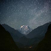 "Nepal, ACAP, view of Kali Gandaki Valley with Nilgiri South (6839 m) from Tatopani village (1190 m). ""Nilgiri"" in Nepali language means Blue Mountain."