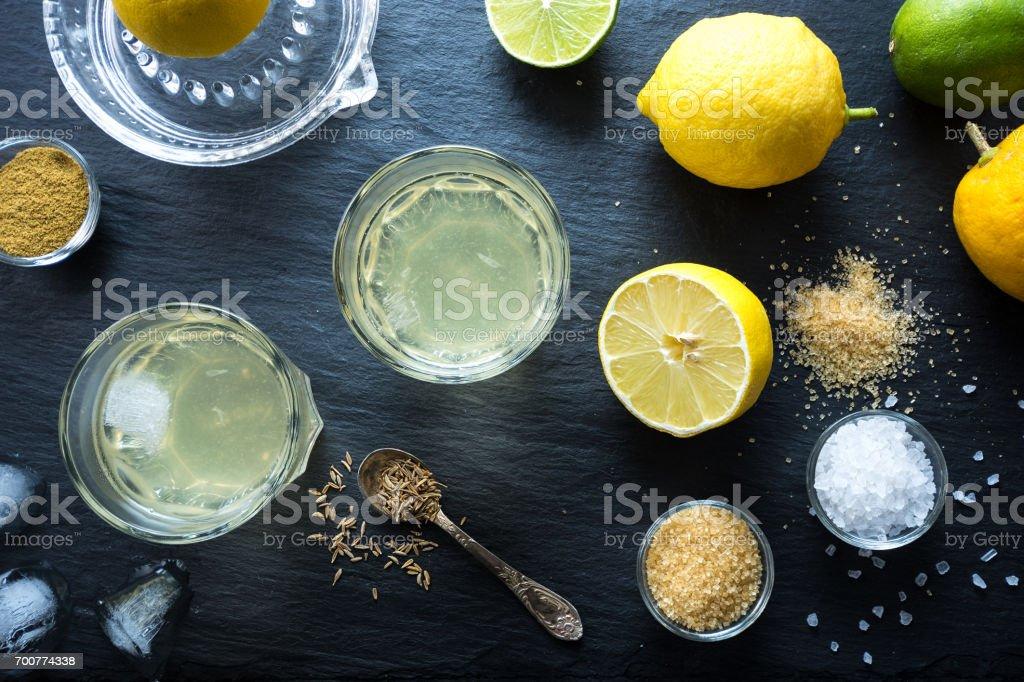 Nimbu Pani Indian lemonade with spices. stock photo