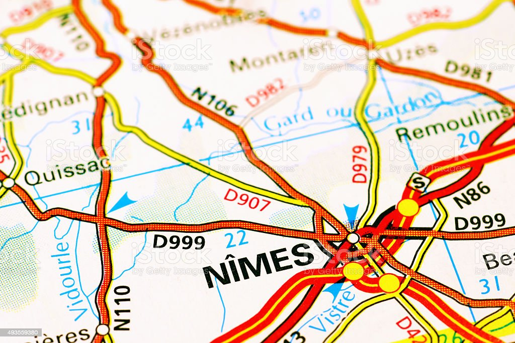 Nimes Area On A Map Stock Photo More Pictures Of 2015 Istock